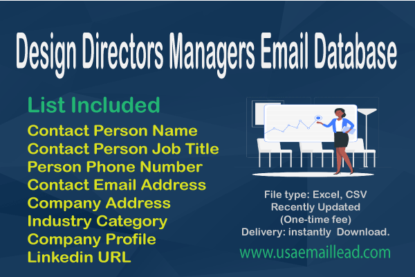 Design Directors Managers Email Database
