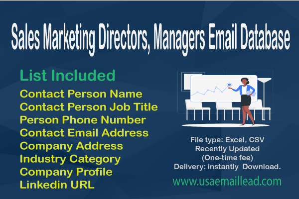 Sales Marketing Directors, Managers Email Database